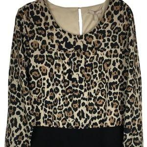 Banana Republic Black Dress with Leopard Print top